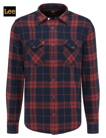 WESTERN SHIRT RED FIRED BRICK CHECK -LEE