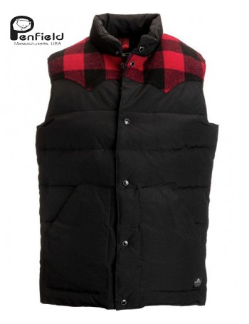 ROCKWAY VEST BLACK AND BUFFALO CHECK - PENFIELD